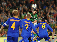 15th October 2013; Kevin Doyle, Ireland, attempts a header on goal. World Cup Qualifier Group C, Republic of Ireland v Kazakhstan, Aviva Stadium, Dublin. Picture credit: Tommy Grealy/actionshots.ie.