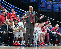 NWA Democrat-Gazette/CHARLIE KAIJO Arkansas Razorbacks head coach Mike Anderson watches the game during the Southeastern Conference Men's Basketball Tournament, Thursday, March 8, 2018 at Scottrade Center in St. Louis, Mo.
