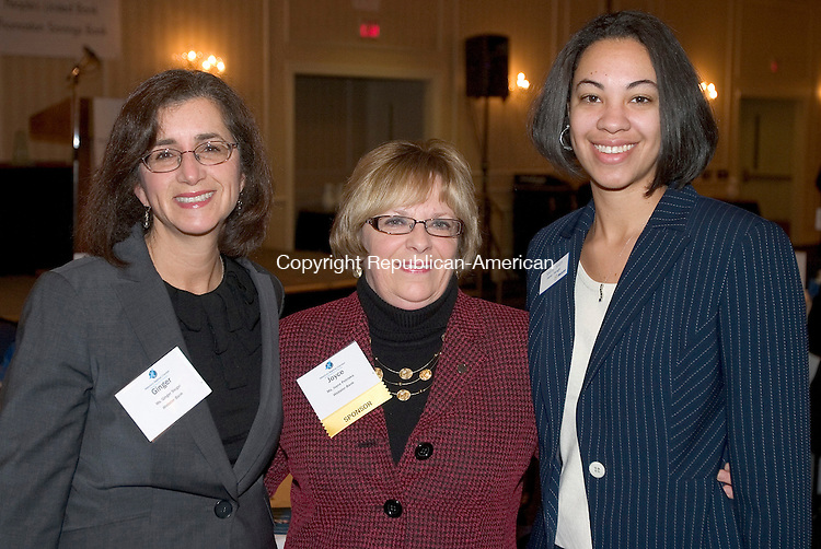 SOUTHBURY, CT. 23 January 2010-012310SV04--From left, Ginger Siegel, Webster Bank, Joyce Petrisko, Webster Bank, and Selena Smith, Webster  Bank attend the 13th Annual Harold Webster Smith Awards Breakfast Celebration held at Crowne Plaza Hotel in Southbury Thursday. The Waterbury Regional Chamber sponsored the event.<br /> Steven Valenti Republican-American