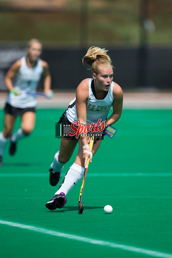 Veerle Bos (17) of the Wake Forest Demon Deacons controls the ball during first half action against the Missouri State Bears at Kentner Stadium on September 6, 2015 in Winston-Salem, North Carolina.  The Demon Deacons defeated the Bears 2-0.  (Brian Westerholt/Sports On Film)