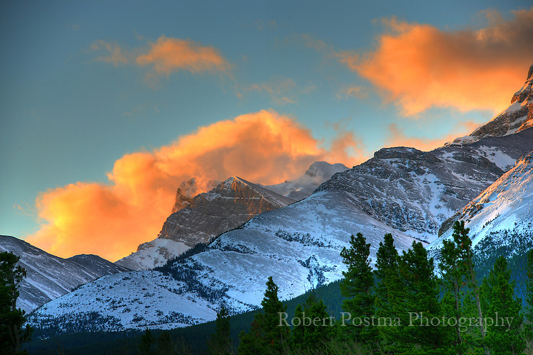 Sunrise lit clouds at Crowsnest Pass, British Columbia / Alberta.