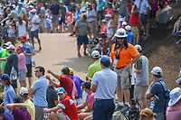 An avid golf fan wearing an orange shirt and hard hat stood ready for Rory McIlroy's (NIR) errant tee shot on 11 during 4th round of the 100th PGA Championship at Bellerive Country Club, St. Louis, Missouri. 8/12/2018.<br /> Picture: Golffile   Ken Murray<br /> <br /> All photo usage must carry mandatory copyright credit (© Golffile   Ken Murray)