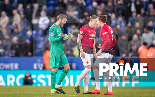 Goalkeeper David De Gea of Man Utd celebrates with his defenders at full time during the Premier League match between Leicester City and Manchester United at the King Power Stadium, Leicester, England on 3 February 2019. Photo by Andy Rowland.