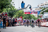 Dutch Champion Fabio Jakobsen (NED/Deceuninck - QuickStep) wins the stage 4 bunch sprint ahead of Sam Bennett (IRL/Bora-Hansgrohe)<br /> <br /> Stage 4: Cullera to El Puig (175km)<br /> La Vuelta 2019<br /> <br /> ©kramon