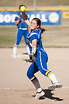 Western Nevada's Kristina George (13) throws a pitch against the Salt Lake Community College during the second game of a two game series in Carson City, Nev. on Saturday, March 7, 2015. (Photo by Kevin Clifford/WNC).