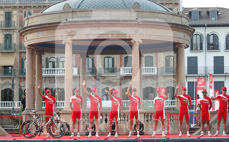 Team Cofidis during the official presentation of La Vuelta 2012. David Moncoutie, Yohann Bagot, Florent Barle, Mickael Buffaz, Leonardo Fabio Duque, Egoitz Garcia Echeguibel, Luis Angel Mate Mardones, Rudy Molard and Nico Sijmens. August 17,2012. (ALTERPHOTOS/Alfaqui/Paola Otero)
