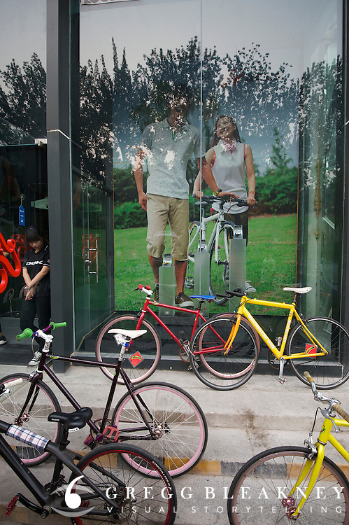 A display in front of the Holy Brother Bike Shop,  Beijing's Highest end Bike Shop that sells premium european brands to Chinese enthusiasts - New Beijing Bike Culture -- 2011 Tour of Beijing Scouting Photos