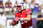 Southern Methodist Mustangs tight end Mitchell Kaufman (24) in action during the game between the SMU Mustangs and the TCU Horned Frogs at the Amon G. Carter Stadium in Fort Worth, Texas.