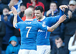 Haris Vuckic celebrates with Nicky Law after scoring goal no 2 for Rangers
