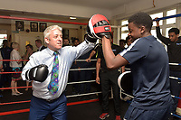 John Bercow MP, Speaker of the House of Commons, takes part in a sparring session during a Press Call at The Boxing Academy on 21st June 2018