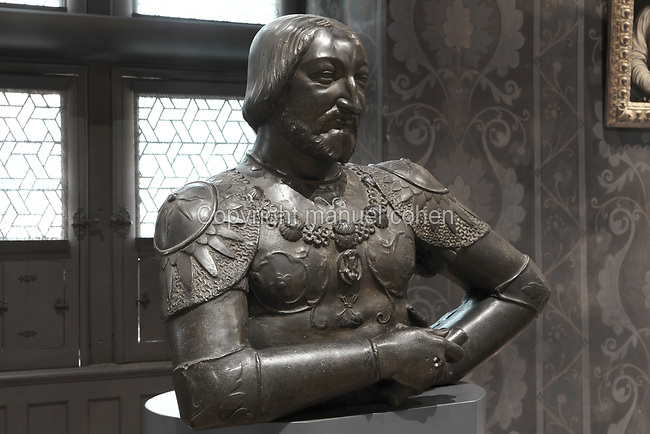 Bronze bust of Francois I, 1756, by Louis-Claude Vasse, 1716-72, after an original 16th century bust in the Chateau de Fontainebleau, in the Salle des Valois, with collections belonging to the Valois, especially Francois I, on the first floor of the Francois I wing, built early 16th century in Italian Renaissance style, at the Chateau Royal de Blois, built 13th - 17th century in Blois in the Loire Valley, Loir-et-Cher, Centre, France. The sculpture was acquired in 1926 by the Musee des Beaux-Arts de la Ville de Blois. The chateau has 564 rooms and 75 staircases and is listed as a historic monument and UNESCO World Heritage Site. Picture by Manuel Cohen