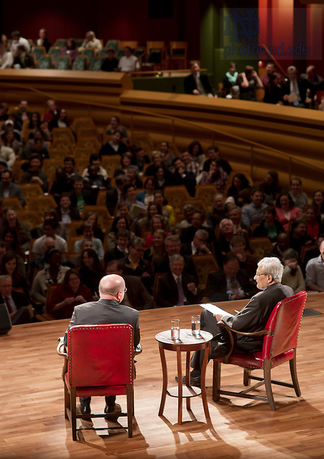 Apr. 17, 2012; Amartya Sen, the 1998 Nobel Laureate in Economics, answers questions after giving the 18th Annual Hesburgh Lecture in Ethics and Public Policy in Leighton Concert Hall at the DeBartolo Performing Arts Center...Photo by Matt Cashore/University of Notre Dame