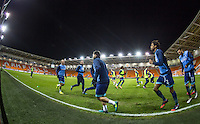 Wycombe players warm up during the The Checkatrade Trophy match between Blackpool and Wycombe Wanderers at Bloomfield Road, Blackpool, England on 10 January 2017. Photo by Andy Rowland / PRiME Media Images.