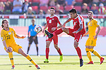 Jonathan Zorrilla of Palestine (R) fights for the ball with Jackson Irvine of Australia (L) during the AFC Asian Cup UAE 2019 Group B match between Palestine (PLE) and Australia (AUS) at Rashid Stadium on 11 January 2019 in Dubai, United Arab Emirates. Photo by Marcio Rodrigo Machado / Power Sport Images