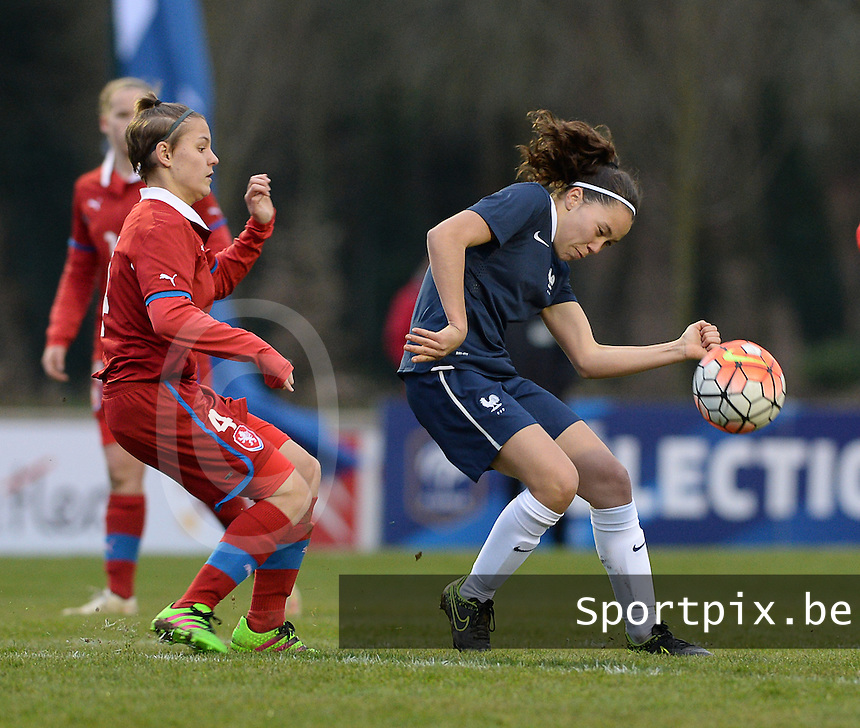 20160319 - FLERS , FRANCE : French Marion Rey (R) and Czech Natalie Valaskova (L) pictured during the soccer match between the women under 17 teams of  France and the Czech Republic , on the first matchday in group 3 of the UEFA Women Under17 Elite rounds at Stade du Haze in Flers , France . Saturday 19th March 2016 . PHOTO DAVID CATRY