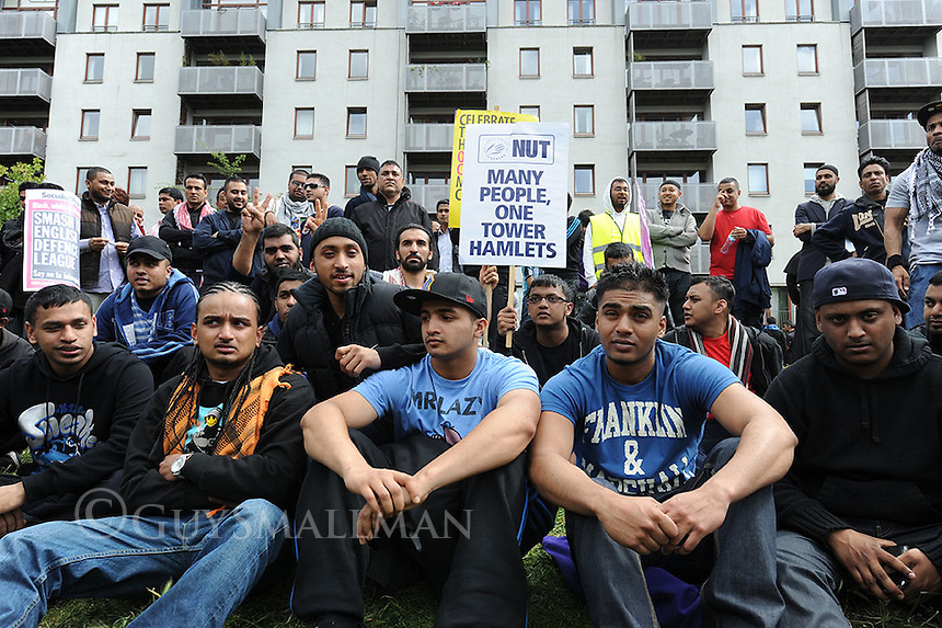 Following threats by the racist English Defence League to oppose a conference addressed by radical Islamic preachers; a 'Unity ' protest against racism and bigotry was in organised in Whitechapel East London by the UAF and local community and faith groups. The EDL did not show up and the conference had been cancelled by Tower Hamlets council a few days earlier. The march went from Stepney Green Park to Altab Ali park.