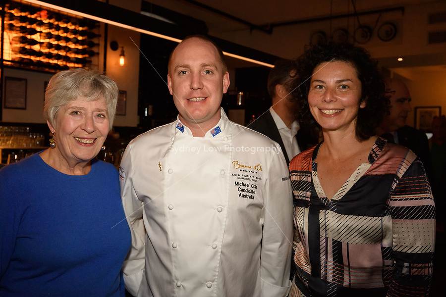 Melbourne, June 26, 2018 - Rita Erlich, Michael Cole and Dani Valent pose for a photograph at a celebration event for Bocuse d'Or Australia team and their sponsors and supporters at Philippe Restaurant in Melbourne, Australia. Photo Sydney Low.