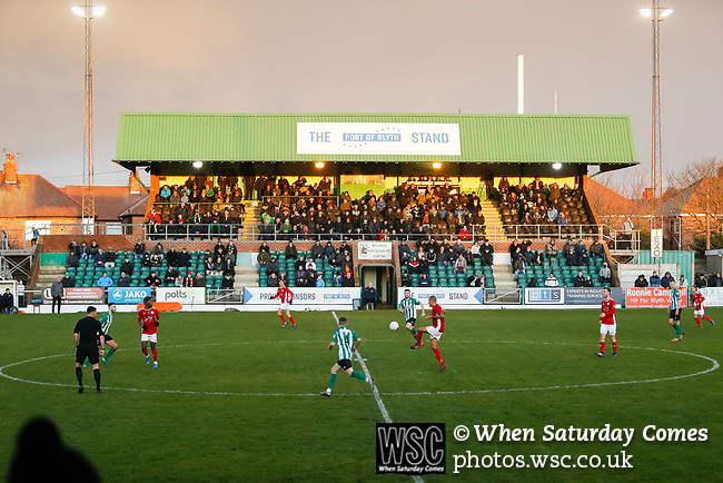 /Brackley attack in front of the The Port of Blyth Stand at Croft Park. Blyth Spartans v Brackley Town, 30112019. Croft Park, National League North. Photo by Paul Thompson.