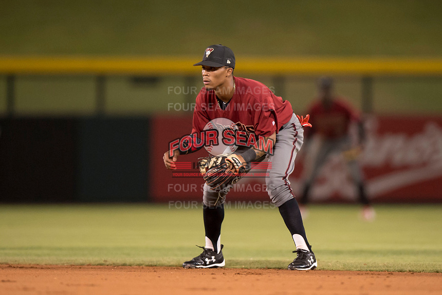 AZL Diamondbacks second baseman Marshawn Taylor (11) during an Arizona League game against the AZL Cubs 1 at Sloan Park on June 18, 2018 in Mesa, Arizona. AZL Diamondbacks defeated AZL Cubs 1 7-0. (Zachary Lucy/Four Seam Images)