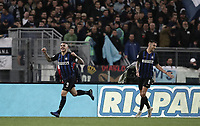 Calcio, Serie A: SS Lazio vs Internazionale Milano, Olympic stadium, Rome, October 29, 2018.<br /> Inter's captain Mauro Icardi (l) celebrates after scoring with his teammate Matias Vecino (r) during the Italian Serie A football match between SS Lazio and Inter Milan at Rome's Olympic stadium, on October 29, 2018.<br /> UPDATE IMAGES PRESS/Isabella Bonotto