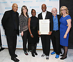Oz Scott, Pam MacKinnon, Chirlane McCray, Kenny Leon, Michael Wilson and Laura Penn attend the SDC Foundation presents The Mr. Abbott Award honoring Kenny Leon at ESPACE on March 27, 2017 in New York City.