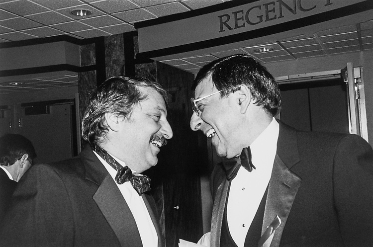 Matching noses! Rep. Sam Gejdenson and OMB Dir. Leon Panetta at Independent Action Roast for May Leader Gephardt. Feb. 9, 1994. (Photo by Maureen Keating/CQ Roll Call)