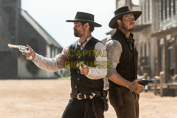 The Magnificent Seven (2016) <br /> Chris Pratt &amp; Manuel Garcia-rulfo<br /> *Filmstill - Editorial Use Only*<br /> CAP/KFS<br /> Image supplied by Capital Pictures