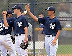 Gosuke Kato (Yankees), JUNE 21, 2013 - MLB : Gosuke Katoh of the Yankees hi-fives with his team mates during the Gulf Coast League game between the Gulf Coast League Yankees1 and the Gulf Coast League Pirates at Yankee Complex in Tampa, Florida, United States. (Photo by AFLO)