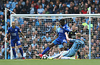 Leicester City's Wilfred Ndidi is tackled by Manchester City's Kevin De Bruyne<br /> <br /> Photographer Stephen White/CameraSport<br /> <br /> The Premier League - Manchester City v Leicester City - Saturday 13th May 2017 - Etihad Stadium - Manchester<br /> <br /> World Copyright &copy; 2017 CameraSport. All rights reserved. 43 Linden Ave. Countesthorpe. Leicester. England. LE8 5PG - Tel: +44 (0) 116 277 4147 - admin@camerasport.com - www.camerasport.com