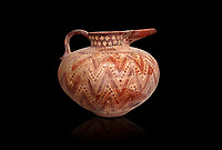 Minoan bridge souted jug with complex zig-zag decoration,  Sklavakambos 1500-1450 BC,  Heraklion Archaeological  Museum, black background.