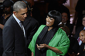 United States President Barack Obama (L) greets singer Patti LaBelle (R) during the event, 'In Performance at the White House - Women of Soul' in the East Room of the White House in Washington DC, USA, 06 March 2014. The event was held to celebrate American music legends and contemporary major female artists.<br /> Credit: Michael Reynolds / Pool via CNP