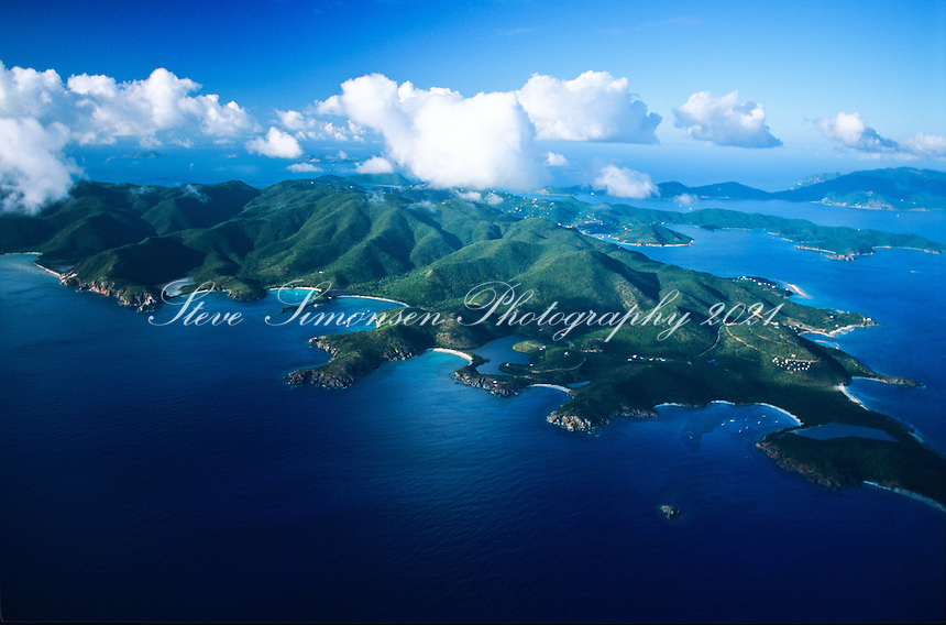 Aerial view of the southeast side of St. John showing Salt Pond Bay, Great and Little Lameshur bays<br /> Virgin Islands