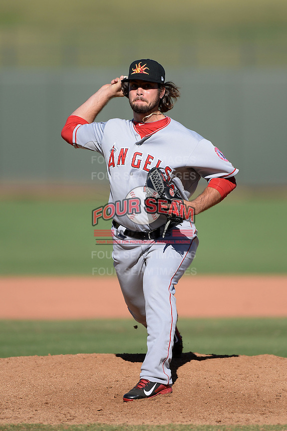 Mesa Solar Sox pitcher R.J. Alvarez (39), of the Los Angeles Angels of Anaheim organization, during an Arizona Fall League game against the Peoria Javelinas on October 16, 2013 at Surprise Stadium in Surprise, Arizona.  Mesa defeated Peoria 3-1.  (Mike Janes/Four Seam Images)