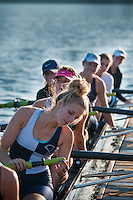 A womens rowing crew readies their boat during early morning competition at the Fall Classic on Hoover Reservoir. The annual rowing competition is sponsored by the Westerville Rowing Club.