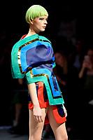 7 September 2017, Melbourne - Model parades design by student Louise Bong during the Melbourne Fashion Week in Melbourne, Australia. (Photo Sydney Low / asteriskimages.com)