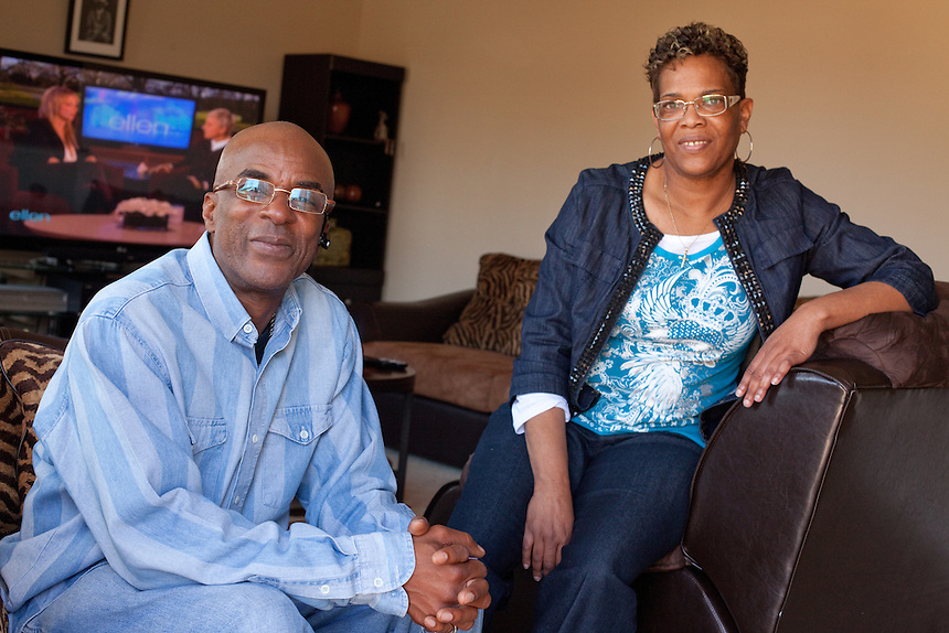DNA Exonerated prisoner Thomas McGowan, sits with his girlfriend Kim Moses in the living room of his home in Garland, Texas.