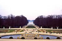 Versailles: Tapis Vert  (green carpet) and Grand Canal. In foreground, Latona Basin.