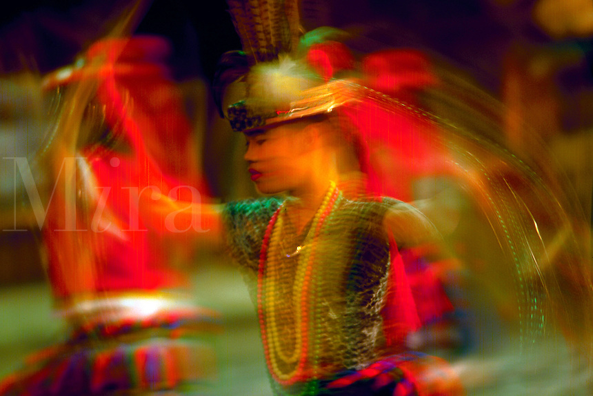 Blur of Ami dancers, Aboriginal tribe of Taiwan