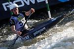 28th September 2019; Canal Olimpic del Segre, La Seu d'Urgell, Catalonia, Spain; ICF Canoe Slalom, World Championships, MC1 Men's Canoe canoe. Picture show Robert Hendrik in action