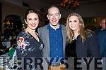 Sauna Sullivan (Kenmare), Sean Keane (Kilgarvan) and Helen O'Sullivan of Kenmare enjoying the Kerry Supporters Social in the Ballygarry House Hotel on Saturday night.