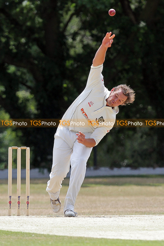 Nick Browne in bowling action for South Woodford - Wanstead CC (batting) vs South Woodford CC - Essex Cricket League - 04/06/11 - MANDATORY CREDIT: Gavin Ellis/TGSPHOTO - Self billing applies where appropriate - Tel: 0845 094 6026