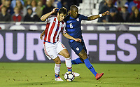 Cary, N.C. - Tuesday March 27, 2018: Cristian Riveros, Darlington Nagbe during an International friendly game between the men's national teams of the United States (USA) and Paraguay (PAR) at Sahlen's Stadium at WakeMed Soccer Park.