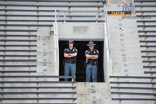 May 21, 2017; Police in the stands during 2017 Commencement. (Photo by Barbara Johnston/University of Notre Dame)