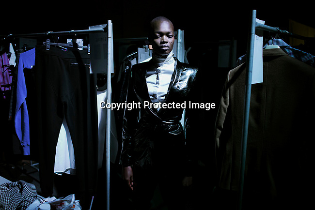 JOHANNESBURG, SOUTH AFRICA MARCH 22: Alaud Anei, a Sudanese model walking for the South African designer Augustine before a show at Mercedes Benz Africa fashion autumn/ winter 2014 week on March 22, 2014 held in Johannesburg, South Africa. South African designers showed their best fall/winter collections. (Photo by: Per-Anders Pettersson)