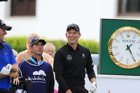 Anders Hansen (DEN) and Marcel Siem (GER) on the 1st tee during Saturday's rain delayed Round 2 of the Andalucia Valderrama Masters 2018 hosted by the Sergio Foundation, held at Real Golf de Valderrama, Sotogrande, San Roque, Spain. 20th October 2018.<br /> Picture: Eoin Clarke | Golffile<br /> <br /> <br /> All photos usage must carry mandatory copyright credit (&copy; Golffile | Eoin Clarke)