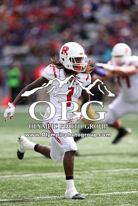 03 September 2016: Rutgers Janarion Grant against Washington.  Washington defeated Rutgers 48-13 at the University of Washington in Seattle, WA.