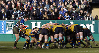 2004/05 Heineken_Cup,Bath Rugby_vs_Leinster,Bath,North Somerset, ENGLAND:.Leinsters Guy Easterby, feeds the ball into the scrum.  Baths scrum half, Nick Walshe counters...Photo  Peter Spurrier. .email images@intersport-images.com...