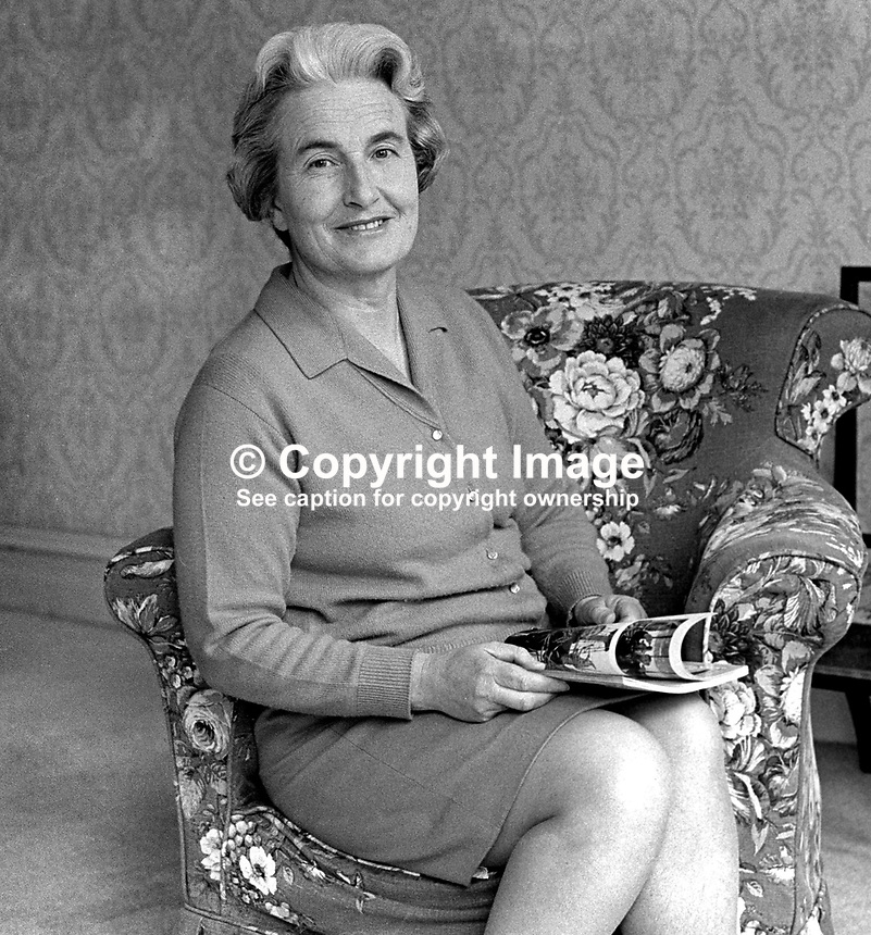 Mrs JLM Haire, wife, Professor JLM Haire, Moderator, Presbyterian Church in Ireland, 1970/1971. 197006000197<br />