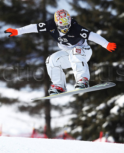 24.01.2013. Snowboarding FIS World Cup  SBX qualification day Stoneham,  Canada Snowboard Cross Qualification for men. Picture shows Mateusz Ligocki POL
