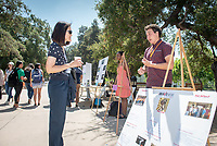 Max Chun, Brave New Films<br /> 2018 InternLA student participants share their poster presentations about their summer experiences working as interns in Los Angeles. Summer Experience Expo, Sept. 13, 2018 in the Academic Quad. Hosted by Career Services.<br /> (Photo by Marc Campos, Occidental College Photographer)